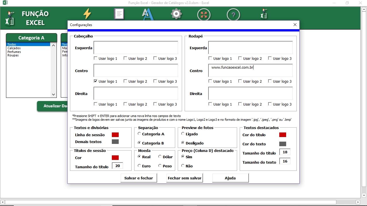 508b2f1e5 Gerador de catálogos • Função Excel